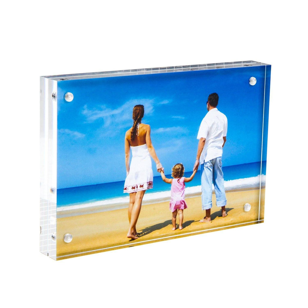 Acrylic Photo Frame 4x6 Gift Box Package, Clear Free Standing Desktop Double Sided Magnetic Picture Display