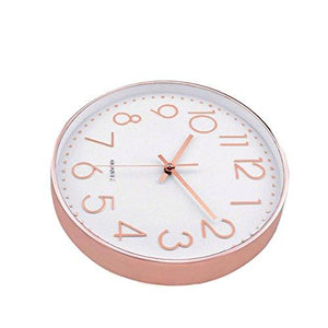 Modern Wall Clock, Silent Non-Ticking Quartz Decorative Battery Operated Wall Clock for Living Room Home Office School w Rose Gold Plastic Frame Glass Cover (12 inch, Arabic Numeral)