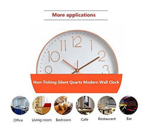 Load image into Gallery viewer, Modern Wall Clock, Silent Non-Ticking Quartz Decorative Battery Operated Wall Clock for Living Room Home Office School w Rose Gold Plastic Frame Glass Cover (12 inch, Arabic Numeral)