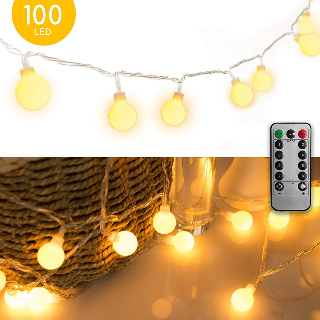 33 FT 100 LED Globe Ball String Lights, Fairy String Lights Plug in, 8 Modes with Remote, Decor for Indoor Outdoor Party Wedding Christmas Tree Garden, Warm White - zingydecor