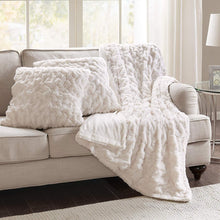 "Comfort Spaces Faux Fur Throw Blanket Set – Fluffy Plush Blankets for Couch and Bed – Ivory Size 50"" x 60"" with 2 Square Pillow Covers 20"" x 20"" - zingydecor"