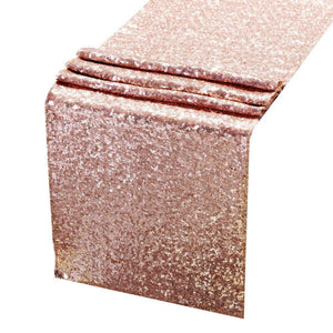 ACRABROS Sequin Table Runners Rose Gold- 12 X 72 Inch Glitter Rose Gold Table Runner-Rose Gold Party Supplies Fabric Decorations for Wedding Birthday Baby Shower - zingydecor