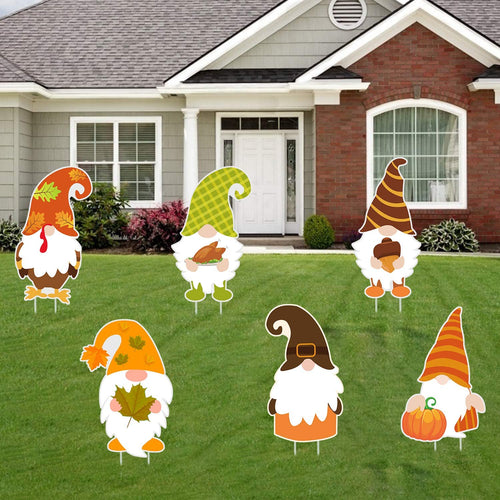 Fall Gnome Yard Sign Decorations - 6PCS