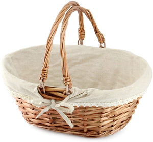 Wicker Basket with Handles | 13 x 10 x 6 Inches