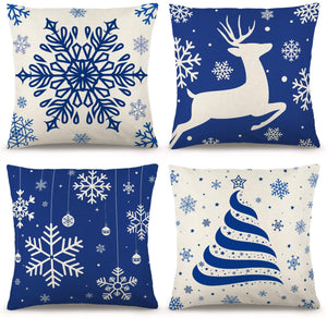 YGEOMER Christmas Blue Pillow Covers 18×18 Inch Set of 4 Farmhouse Pillow Covers Holiday Rustic Linen Pillow Case for Sofa Couch Christmas Blue Decorations Throw Pillow Covers