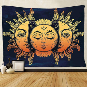Tapestry Wall Hanging, sun and moon Psychedelic small Wall Tapestry with Art chakra Home Decorations for Bedroom Dorm Decor in 51x60 Inches - zingydecor