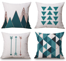 Load image into Gallery viewer, Modern Simple Geometric Style Soft Linen Burlap Square Throw Pillow Covers, 18 x 18 Inches, Set of 4 (Green) - zingydecor