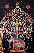 Load image into Gallery viewer, Marubhumi Tree of Life Psychedelic Wall Hanging Elephant Tapestry, Multi/Black, 55x86-Inches - zingydecor