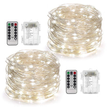 Load image into Gallery viewer, YIHONG 2 Set Fairy Lights Battery Operated 50LED String Lights Remote Control Timer Twinkle String Lights 8 Modes 16.4 Feet Silver Wire Firefly Lights --White - zingydecor