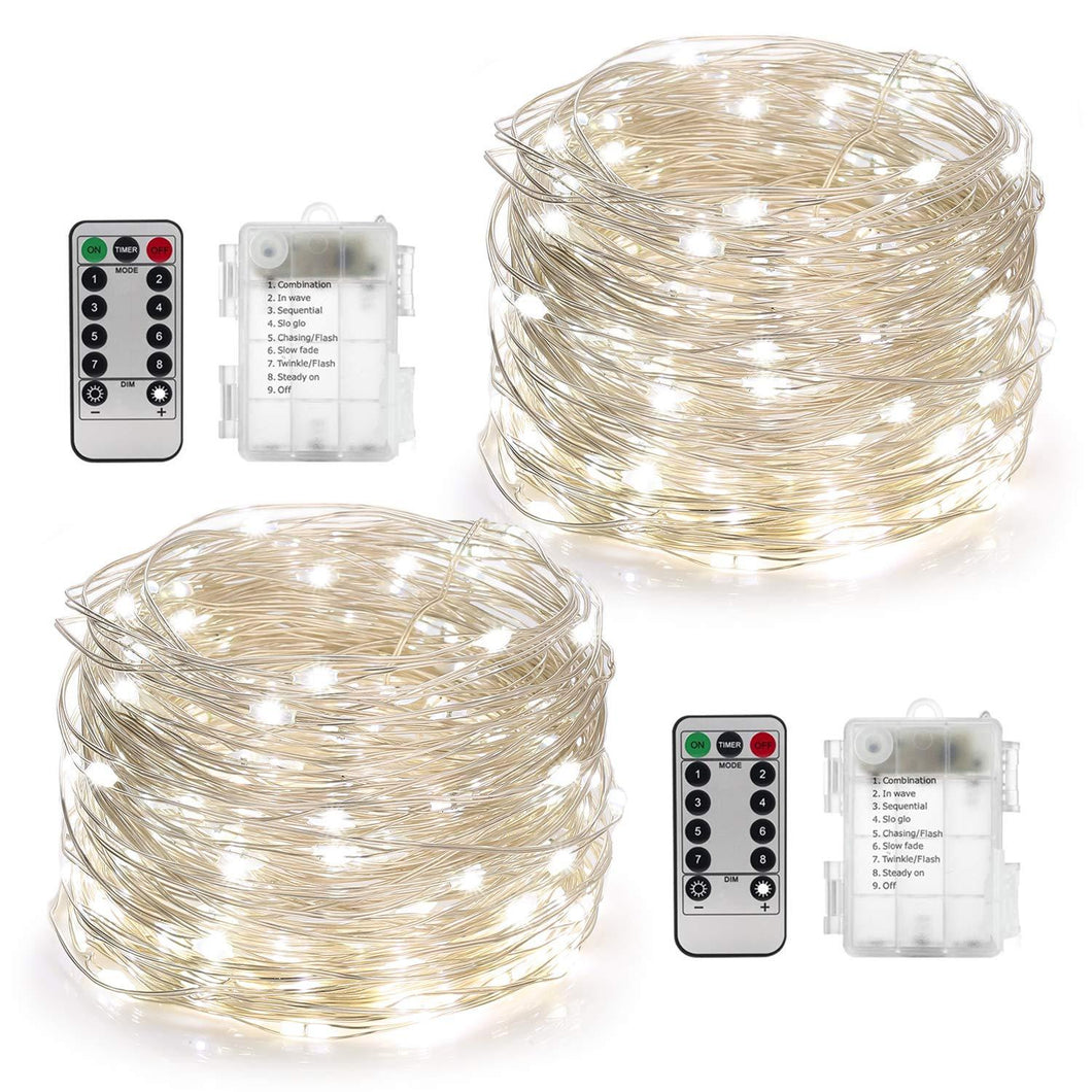 YIHONG 2 Set Fairy Lights Battery Operated 50LED String Lights Remote Control Timer Twinkle String Lights 8 Modes 16.4 Feet Silver Wire Firefly Lights --White - zingydecor