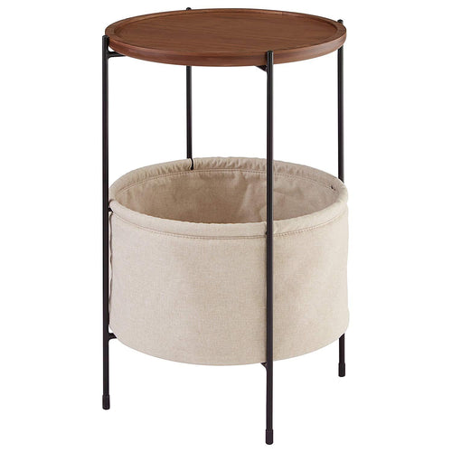 Rivet Round Storage Basket Side Table – Meeks, Walnut and Cream Fabric - zingydecor