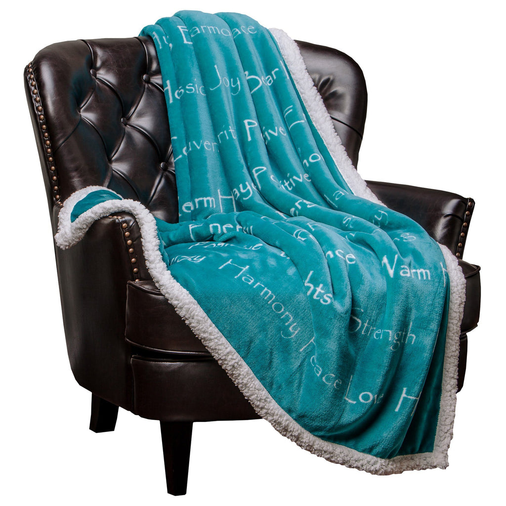 "Chanasya Super Soft Ultra Plush Healing Thoughts Warm Hugs Posivite Energy Comfort Caring Gift Teal Microfiber Throw Blanket ( 50"" x 65"" )- Teal Blue and White Gift Blanket"