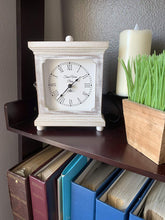 "Load image into Gallery viewer, Rustic Wood Clock for Shelf Table Or Desk 9""x7"" - Farmhouse Decor Distressed White Washed Mechanical Powered for Office, Bedroom Fireplace Mantel Living Family Room. AA Battery Operated Non-Digital"