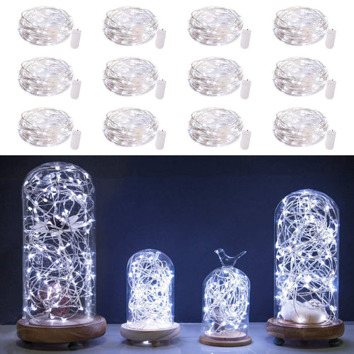 12 Pack Fairy Lights 7Ft 20 LED Firefly Lights Battery Operated String Lights Silver Wire Starry Moon Lights for DIY Wedding Bedroom Indoor Party Christmas Decorations Warm White - zingydecor