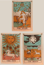 Tarot Flag Tapestry - The Sun, The Moon and The Star - Bohemian Cotton Printed Hand Made Wall Hanging Tapestries with Steel Grommets, Beige, Pack of 3