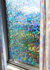 "Decorative Window Film Holographic Prismatic Etched Glass Effect - Fill Your House with Rainbow Light 24"" X 36"" Panel - Crystal Pattern - zingydecor"