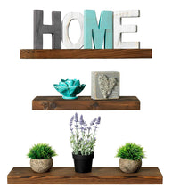 Load image into Gallery viewer, Rustic Farmhouse 3 Tier Floating Wood Shelf - Floating Wall Shelves (Set of 3), Hardware and Fasteners Included (Walnut, 3 Tier) - zingydecor