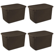 Load image into Gallery viewer, Sterilite 12786P04 17 Gallon/64 Liter Weave Tote, Espresso, 4-Pack - zingydecor
