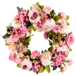 "Lvydec Artificial Peony Flower Wreath - 15"" Pink Flower Door Wreath with Green Leaves Spring Wreath for Front Door, Wedding, Wall, Home Decor - zingydecor"