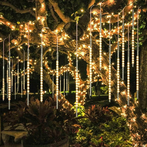 BlueFire Upgraded 50cm 10 Tubes 540 LED Meteor Shower Rain Lights, Drop/Icicle Snow Falling Raindrop Waterproof Cascading Lights for Wedding Xmas New Year Party Tree Decoration (Warm White) - zingydecor