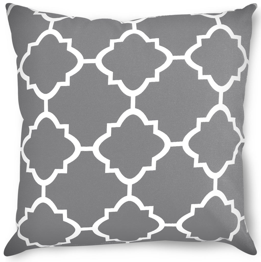 Decorative Square 18 x 18 Inch Throw Pillows Grey Moroccan Quatrefoil Lattice Cushion Pillow