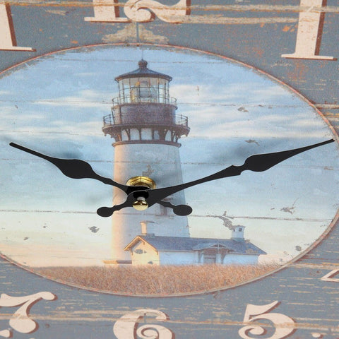 "Image of Lily's Home Rustic Wood-Style Country Lighthouse Wall Clock, Fits Nautical or Country Décor, Battery-Powered with Quartz Movement, Ideal Gift for Lighthouse Fans (13"" Diameter)"