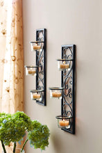 "Load image into Gallery viewer, Hosley Set of Two 13.75"" High Black Iron Tealight Wall Sconce. Handmade by Artisans. Ideal Gift for Wedding, Party, LED Votive Candle Gardens, Spa, Reiki - zingydecor"