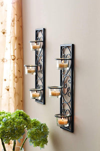 "Hosley Set of Two 13.75"" High Black Iron Tealight Wall Sconce. Handmade by Artisans. Ideal Gift for Wedding, Party, LED Votive Candle Gardens, Spa, Reiki - zingydecor"