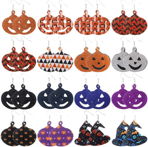9-20 Pairs Halloween Leather Earrings for Women and Girls, Glitter Teardrop Leather Earrings Costume Party Decoration Supplies
