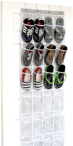 Image of 24 Pockets - SimpleHouseware Crystal Clear Over the Door Hanging Shoe Organizer (64'' x 19'') - zingydecor