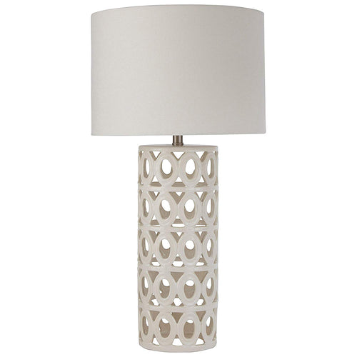 Stone & Beam Ceramic Geometric Cut-Out Table Desk Lamp With LED Light Bulb - 13 x 13 x 25 Inches, White