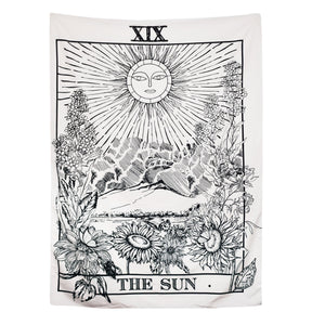 "BLEUM CADE Tarot Tapestry The Moon The Star The Sun Tapestry Medieval Europe Divination Tapestry Wall Hanging Tapestries Mysterious Wall Tapestry for Home Decor (51""×59"", The Sun) - zingydecor"