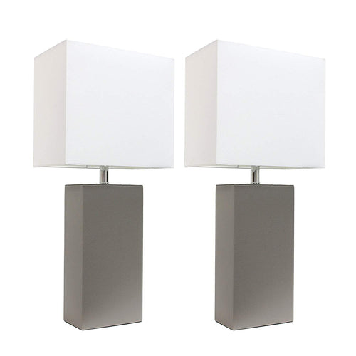 Elegant Designs LC2000-GRY-2PK 2 Pack Modern Leather Table Lamps with White Fabric Shades 3.9