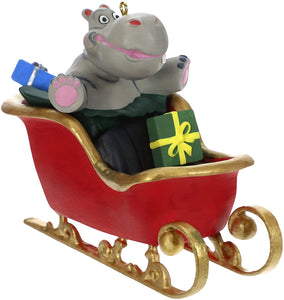 Hippo in Sleigh Musical (Plays I Want a Hippopotamus for Christmas Song) Ornament
