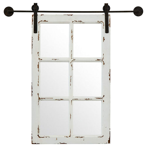 Stone & Beam Vintage-Look Rectangular Frame White Window Wood Mirror, 32.75 Inch Height, White