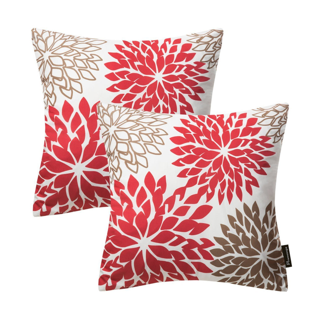 Phantoscope New Living Red&Brown Series Throw Pillow Case Cushion Cover Dahlia Set of 2 - zingydecor