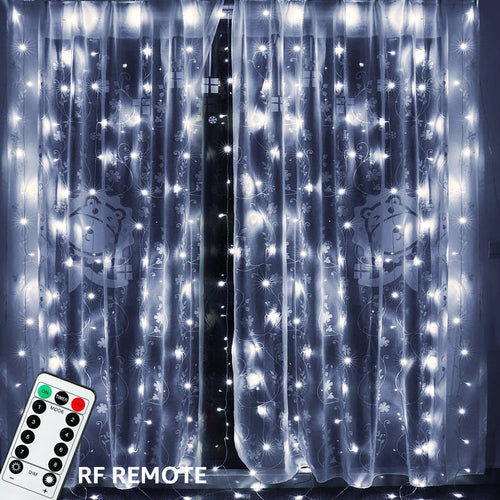 TORCHSTAR 18W Window Curtain Light, Icicles Christmas Fairy Light, 300 LEDs Extendable Starry Lights with 8 Modes, 6000K Pure White, for Festival/Wedding/Party/Garden