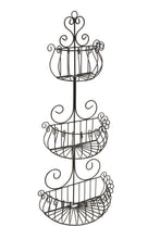 Wall Mounted Scrollwork Design Deluxe 3 Tier Black Iron Fruit Basket / Kitchen Storage Rack - MyGift - zingydecor