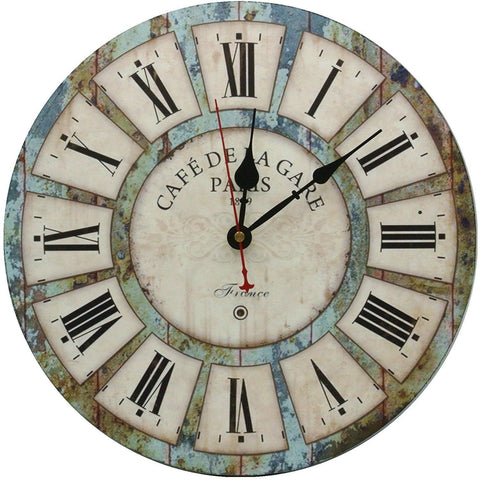 "Image of Large Decorative Wall Clock,Silent Wall Clock Non Ticking for Living Room Kitchen Bathroom Bedroom Wood Round Vintage Decor 13.5"" RELIAN"