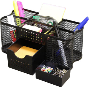 DecoBros Desk Supplies Organizer Caddy, Black - zingydecor