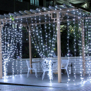 LE 306 LED Curtain Lights, 9.8 x 9.8 ft, 8 Modes Plug in Fairy String Lights, Warm White Indoor Outdoor Decorative Christmas Twinkle Lights for Bedroom, Parties, Wedding Backdrop, Dorm, Patio and More - zingydecor