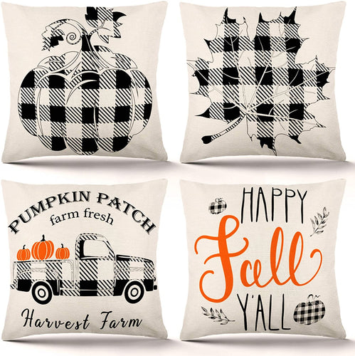 Fall Pillow Covers 18×18 Inch Set of 4 Autumn Decor