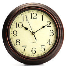 Bekith 12-Inch Round Classic Clock Retro Non Ticking Quartz Decorative Wall Clock - zingydecor