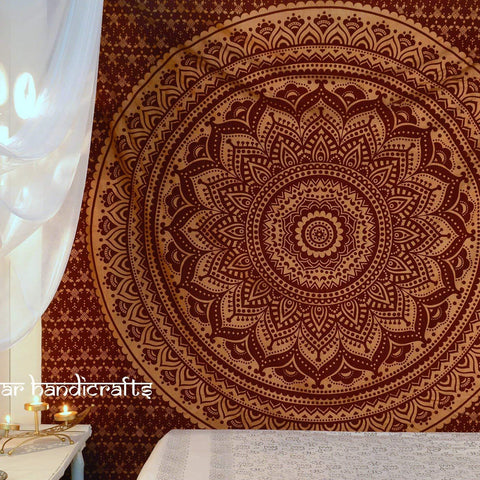 "Image of Popular Handicrafts Th553 original Gold Ombre Tapestry Indian Mandala Wall Art, Hippie Wall Hanging, Bohemian Bedspread With Metallic Shine 84""x90"" - zingydecor"