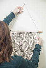 Load image into Gallery viewer, Gentle Crafts BoHo Macrame Hanging Wall Decor: Decorative Wall Art Cotton Rope Cord Woven Tapestry Home Decorations for the Living Room Kitchen Bedroom or Apartment - zingydecor