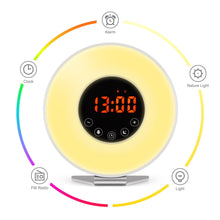Load image into Gallery viewer, Wake Up Light Alarm Clock – 7 Color Light – Sunrise Simulator With Night Light – With Nature Sounds or FM Radio Alarm – USB Charger – Touch Control – For Heavy Sleepers - zingydecor
