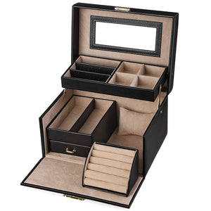SONGMICS Girls Jewelry Box Lockable Jewelry Organizer Mirrored Storage Case Black UJBC114
