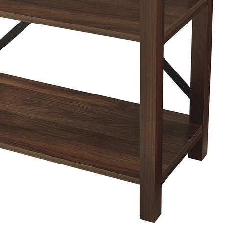 "WE Furniture Farmhouse 4-Shelf Bookcase with Open Storage, 64"" H, Dark Walnut"