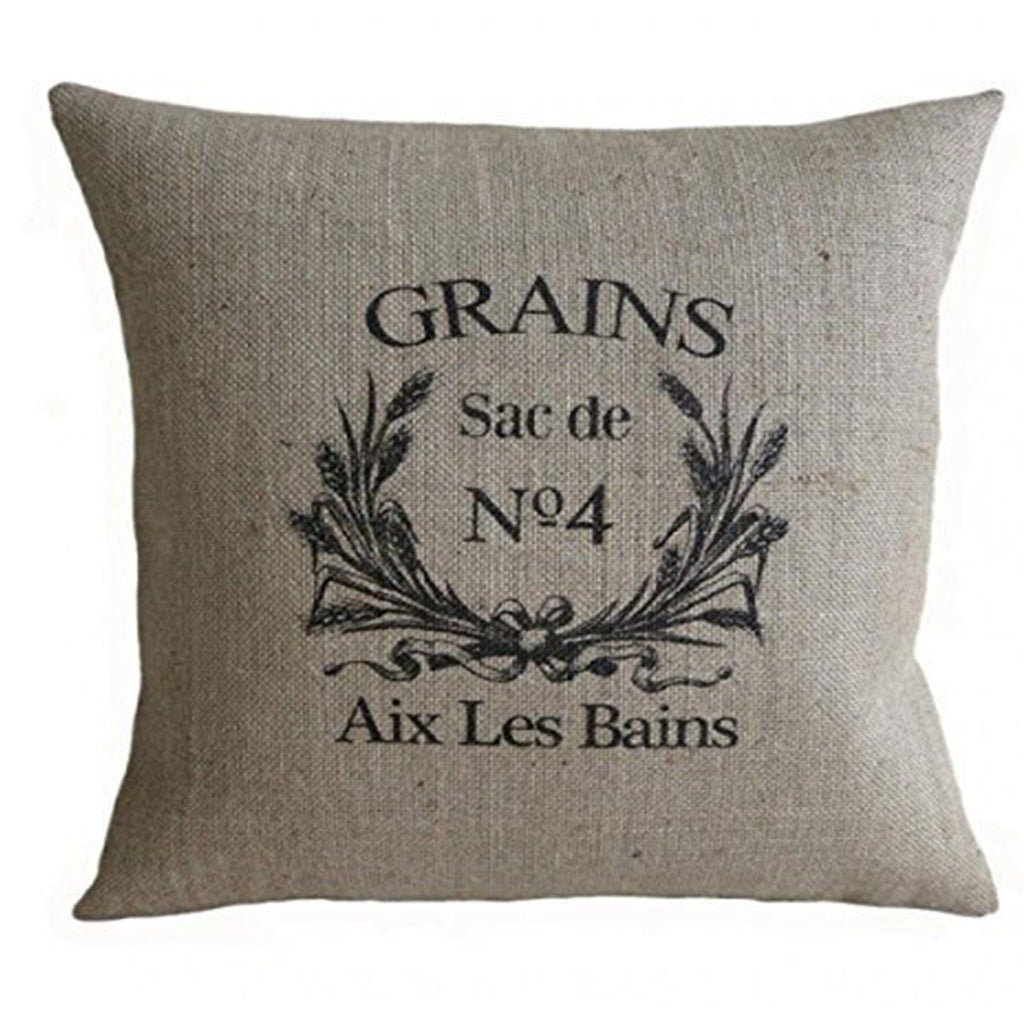 PatriciaStore decorative pillow covers Vintage French Grain Sack 18 X 18 inch