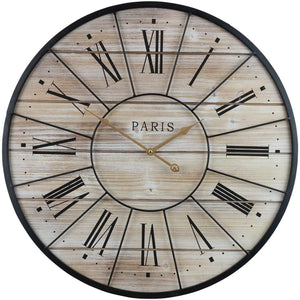 "Sorbus Paris Oversized Wall Clock, Centurion Roman Numeral Hands, Parisian French Country Rustic Modern Farmhouse Décor, Analog Wood Metal Clock, 24"" Round - zingydecor"